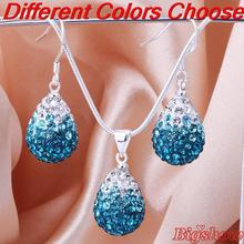 top quality shamballa teardrops earring necklace set crystal gradual white to peacock necklace set girls