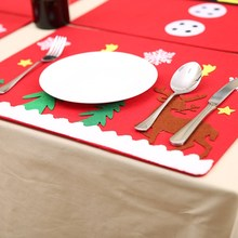 NEW Red Christmas Table Mat Flannel 45x34cm Table Pads Eco-Friendly Home Table Decoration Cute Party Festive Supply Gift(China)