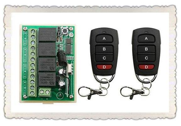 DC12V 4CH RF Wireless Remote Control System teleswitch 2* transmitter +1* receiver universal gate remote control /radio receiver<br><br>Aliexpress