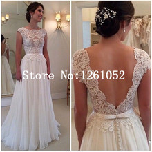 Ivory Scoop Neck Cap Sleeve Low Back Lace Bodice Chiffon Floor Length Evening Dress