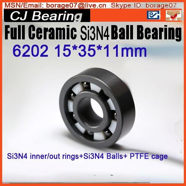 6202 Full Si3n4 ceramic bearing 15*35*11mm  6202 SI3N4 CB ceramic si3n4 rings/balls+ptfe cage<br>