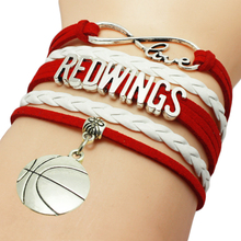 Infinity Love Red Wings Football Team Bracelet Wrap Braid Customize Sports wristband Football Charm Bracelets