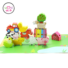 [Umu] Farm Beads Animals Wooden Toys For Children Baby Educational Toys Model Building Kits