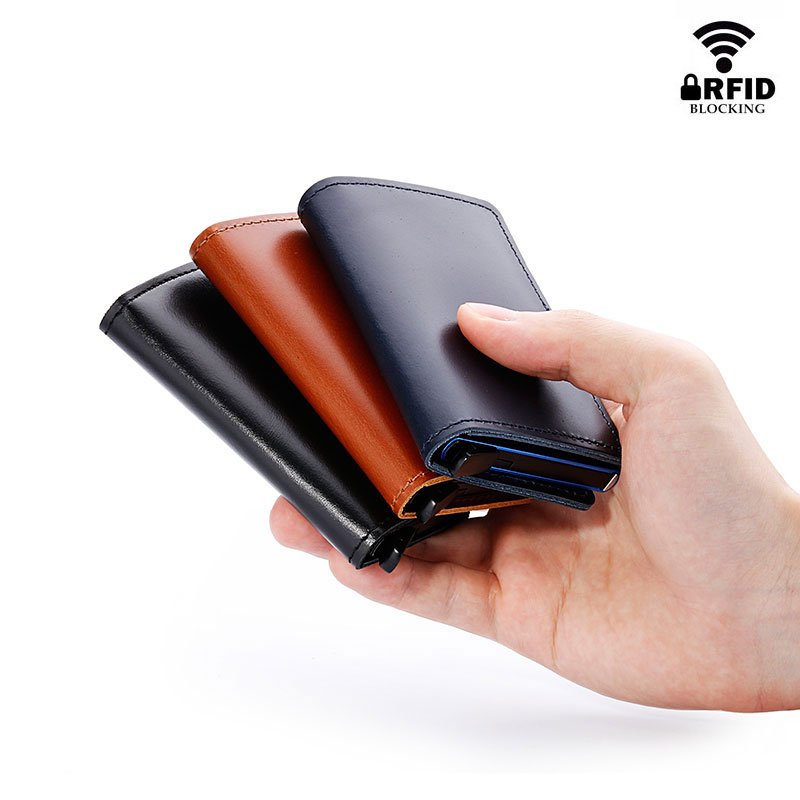 RFID Protected 100% Genuine Leather Card Holder Men Aluminum Metal Business Slim ID Credit Cardholder Multifunction Mini Wallet