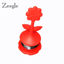 Silicone Oriental Flavor Loose Leaf Herb Strainer Cute Designed Sunflower Shaped Stainless Steel Tea Infuser Candy Color