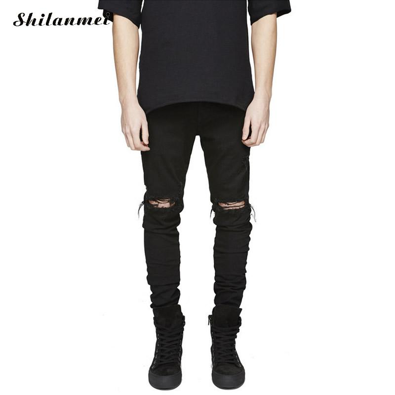 Skinny Black Men Jeans 2017 Denim Ripped Distressed Jeans Men Hip Hop Punk Rock Biker Jeans Calca Masculina Pantalon HommeÎäåæäà è àêñåññóàðû<br><br>
