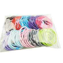 2017 Wholesale 50 pcs girl children circle plain plastic headbands accessory plus velvet hair rope radom candy color headband #y(China)