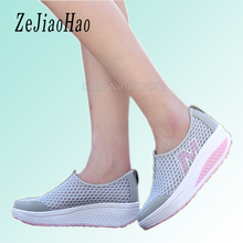 2017 summer platform designer breathable women casual shoes brand woman trainers black sneakers wedge ladies fashion shoes qj08(China)