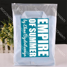 50x self adhesive seal recyclable PE zipper plastic shopping bag for apparel one side clear one side frosted custom logo print(China)