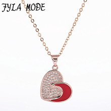 Fyla Mode Green Blue Red Enamel Heart Pendant Necklace Micro Pave Cubic Zirconia Copper Jewelry For Women Copper Chain Chokers(China)
