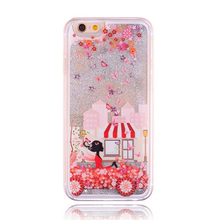2017 Fashion Christmas star flow quicksand liquid glitter perfume rouge pink butterfly girl princess wing angel case For Iphone(China)