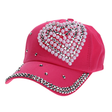 Children Heart Shape Diamond Baseball Cap Unisex Adjustable Snapback Leisure Hat Crystal kids Baseball Cap Sun cap