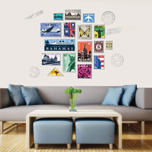 Creative Featured Stamps Vinyl Wall Sticker Living room bedroom Home Decor for Decals wall art removable DIY Stickers