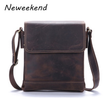 NEWEEKEND Crazy Horse Genuine Leather Male Men's Shoulder Messenger Casual Crossbody Bags For iPads Briefcase Portfolio 9065