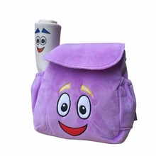 IGBBLOVE Dora Explorer Soft Plush Backpack Rescue Bag with Map, Purple pink color free shipping(China)