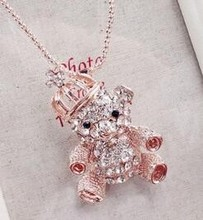 2017 Christmas Little Bear pendant necklace with heart Austrian crystals Rose Gold color hand made fashion jewelry