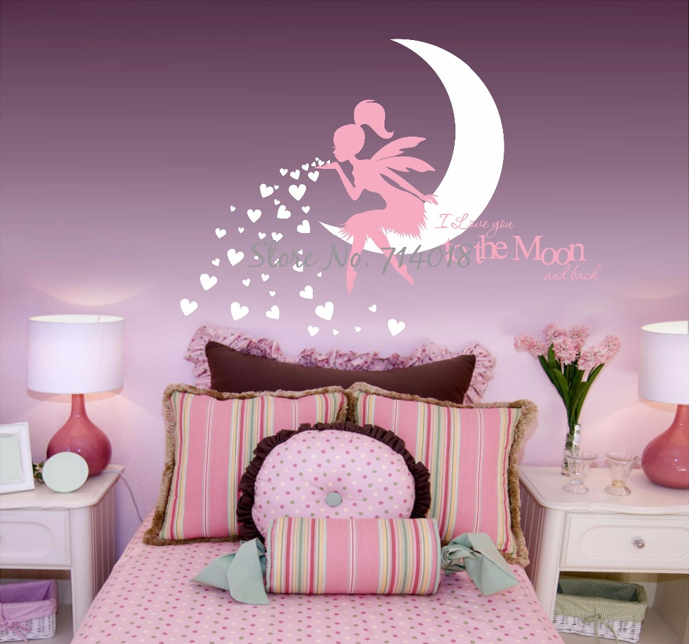 HTB1XfTuRVXXXXaSXFXXq6xXFXXXB - Newest Fairy Wall Decal with Blowing Heart Kisses I Love you to the Moon and Back