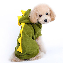 2016 Fashion Halloween Dinosaur Dog Pet Halloween Costume Pet Dogs Green Coat Outfits Soft Jacket chihuahua Puppy pets clothing(China)
