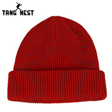 TANGNEST Sweater Hat 2017 New Listing Winter Warm Woolen Hat Soft Necessary All-matched Solid Color Men's Hats Popular PMM299(China)