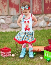 Xmas Bling Reindeer Printed Blue Pettiskirt Dress with Headband and Leg Warmers 1-4Y