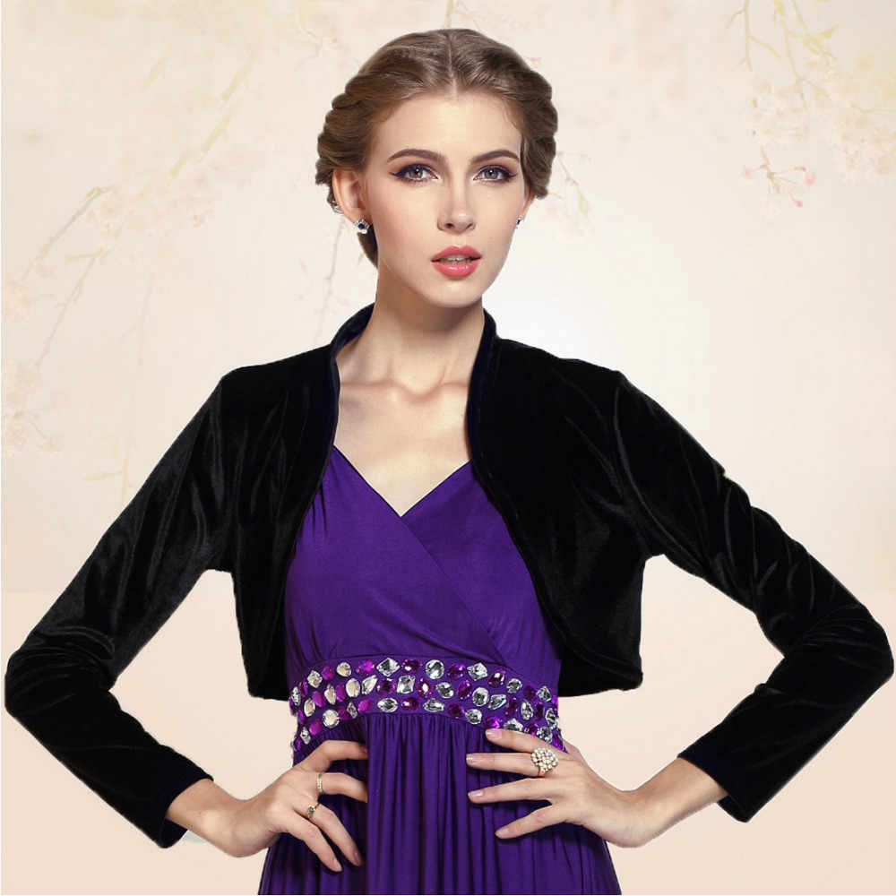 3e32f7fde38 Ladies Cropped Velvet Long Sleeve Shrug Womens Bolero Jacket Cardigan  Outwear Top Plus Sizes available Free
