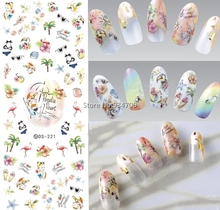 DS221 DIY Nail Design Water Transfer Nails Art Sticker paradise resort Vacation Nail Wraps Sticker Watermark Fingernails Decals