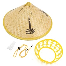 Handmade Leaves Bamboo Woven Hat Tourism Rain Gear Cap Costume Cone Conical Farmer Asian Chinese Country For  Performance Show