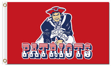 NFL New England Patriots red Flag 3x5 FT 150X90CM Banner 100D Polyester Custom flag grommets,free shipping(China)