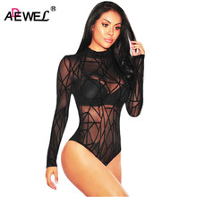 ADEWEL 2018 Woman Bodysuit Long Sleeve Mesh Geometric Velvet Rompers Ladies Lace Bodysuit Top Macacao Body Feminino Jumpsuit(China)