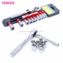 "1/4"" Ratchet Wrench Set Chrome Steel Socket Wrench +10 Sockets+Extension Rod New -Y121 Best Quality"