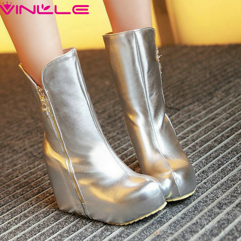 VINLLE Sexy Super High Wedge Heels Winter Women Shoes Zipper Round Toe Solid Short Plush Ankle Lady Fashion Boots Size 32-43<br><br>Aliexpress