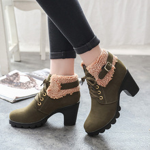 (High) 저 (질 Peluche Women Boots 암 Faux Suede 봉 제 퍼 Warm 겨울 화 (High) 저 (힐 2018 Fashion 야외 Ankle Boots(China)