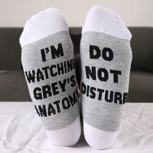 Buy 2 Colors Funny Socks Women Men I'm Watching Grey's Anatomy Socks Letter Print Female Cotton Casual Ladies Socks for $2.50 in AliExpress store