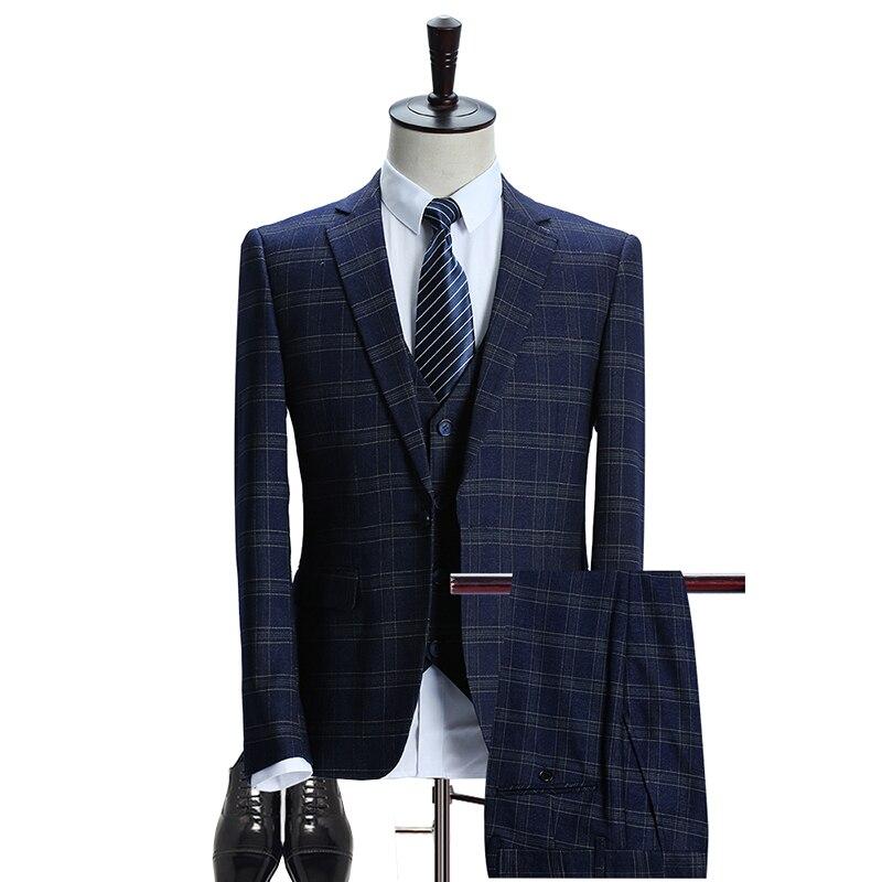 Mens Plaid Suit 2018 Slim Fit Wedding Suits Men High Quality Business Formal Suits 3 Piece Jacket Pants Vest (Jacket+Vest+Pants)