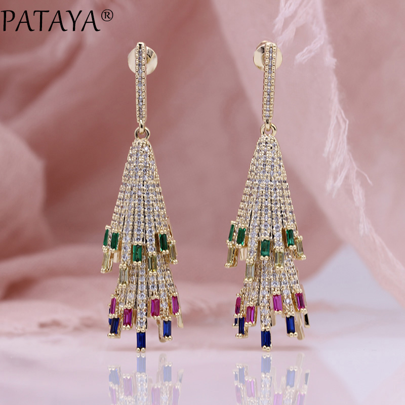 PATAYA New Micro Wax Inlay Luxury Long Stud Earrings Rose Gold Multicolor Natural Zircon Women Fashion Jewelry Hollow Earrings