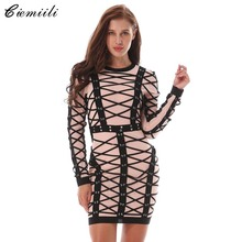 CIEMIILI 2017 New Women Summer Dress Long Sleeve O-neck Luxury Striped Cocktail Party Bandage Dresses Bodycon Mini Prom Vestidos(China)