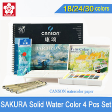 SAKURA Solid Water Color Paint 18/24/30 Colors Sets,Solid Water Color+Needle Pen+Water Brush+Watercolor Paper,Sketch Color(China)