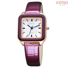 Kimio original brand watch women leather strap fashion casual square ladies Analog quart-watch montre femme women wrist watches