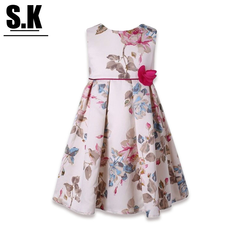 S.K High-end Clothing 2017 Summer Flowers Printed Girl Dress Wedding with Bow Sleeveless Princess Dresses for Dresses<br><br>Aliexpress