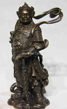 Chinese Folk Famous Figure Copper Bronze WeiTuo Wei Tuo Warrior Buddha Statue