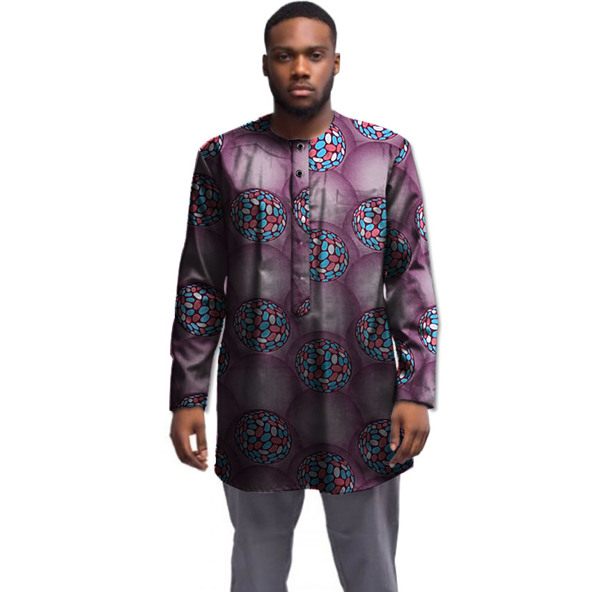 African shirt men fashion patterns print Dashikli Ankara tops long sleeve male African clothes customized