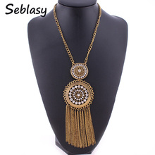 Buy Seblasy Vintage Bohemian Turkish Antique Gold Color Long Sweater Chain Hollow Round Alloy Crystal Chain Tassels Necklaces Women for $4.19 in AliExpress store