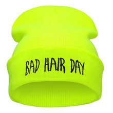 Fall Winter Fashion Bad Hair Day Hiphop Caps Knit Beanie Hat For Women Men Green Black Gray Blue Pink NEON YELLOW GREEN(China)