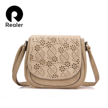 REALER brand vintage saddle bag women crossbody bags flower hollow out design handbag female small shoulder messenger bag