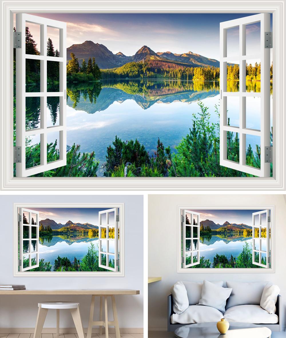 HTB1Xg.dhZLJ8KJjy0Fnq6AFDpXar - Modern 3D Large Decal Landscape Wall Sticker Snow Mountain Lake Nature Window Frame View For Living Room