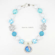 NEW Aqua White Queen Elsa Rhinestone Inspired Chunky Bubble Gum Necklace - Photo Prop Fashion Accessory