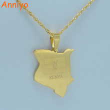 Anniyo map of kenya pendant necklaces jewellery gold color africa country map jewelry kenyans gift #002221(China)