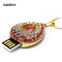 Gift Pendrive 8gb 16gb 32gb Necklace Pendant Usb Flash Drive For Girls Beautifully Crystal Diamond Sweet Heart Memory Stick(China)
