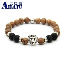 Ailatu 10pcs Original Natural Wood Jewelry Magic Energy Lava Stone Beads Lion Head Bracelets
