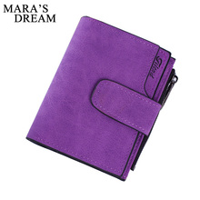 Mara's Dream Lady Short Clutch Wallet Letter Snap Fastener Zipper Solid Vintage Matte Women Wallet Female Purse Short Purse(China)